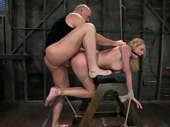 Voluptuous blonde get dominated and fucked in bondage!
