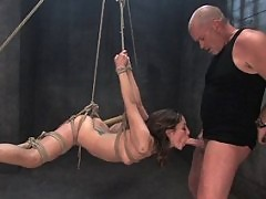 Girl in creative bondage and fucked.