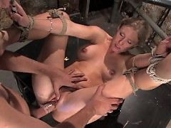 Sweet blonde girl tries BDSM for the first time.