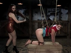 Girl next door in tough bondage