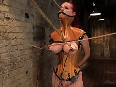 Berlin gets her giant tits shocked and bound