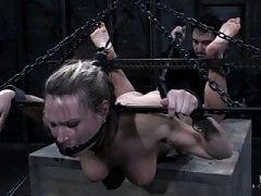 Harmony has squirting orgasms in extreme strict bondage