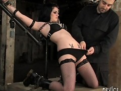Three girl live BDSM orgy. Sluts chained down and punished hard!
