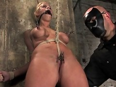 Hot Shaved Blond MILF is Bounded, fucked and force to squirt.