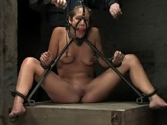 Three girls in six hour steel and leather live BDSM show.